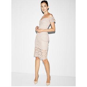 NWT Express off shoulder lace sheath dress XS 2